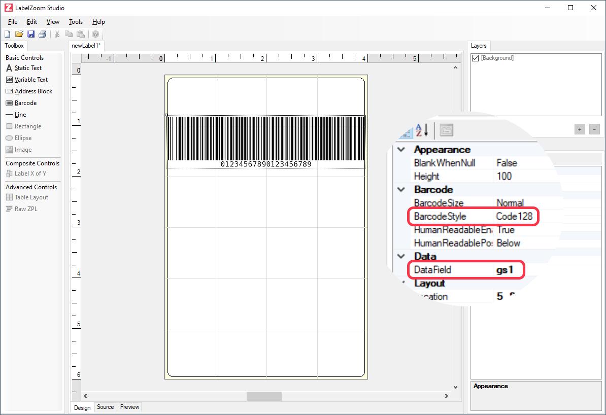 LabelZoom Studio GS1 Barcode